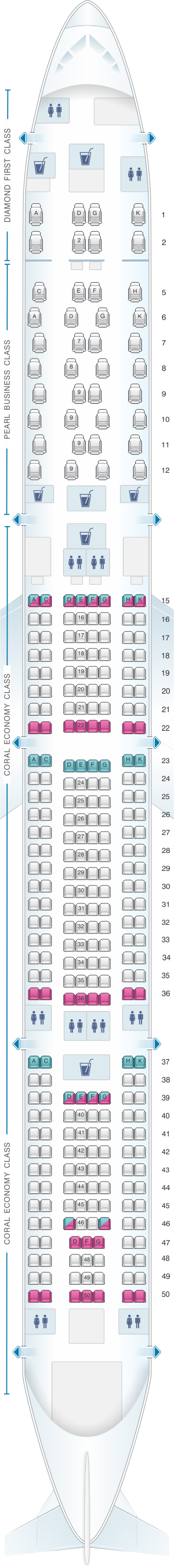 Seat map for Etihad Airways Airbus A340 600