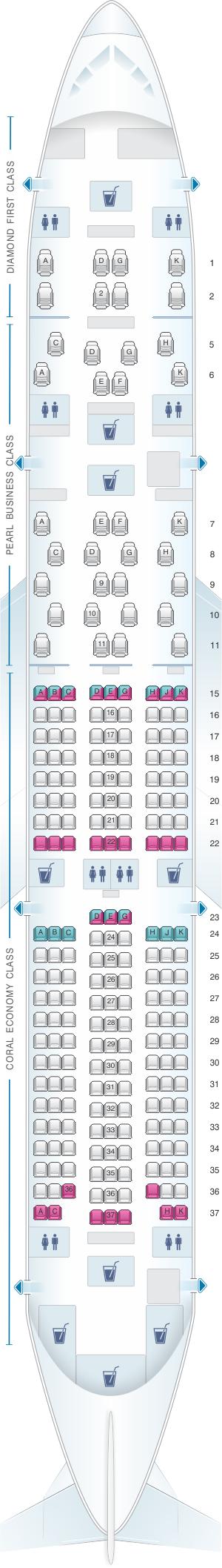 Seat map for Etihad Airways Boeing B787 9 three class