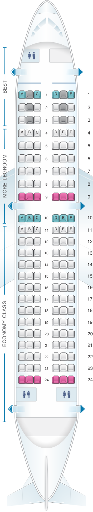 Seat map for Eurowings Airbus A319