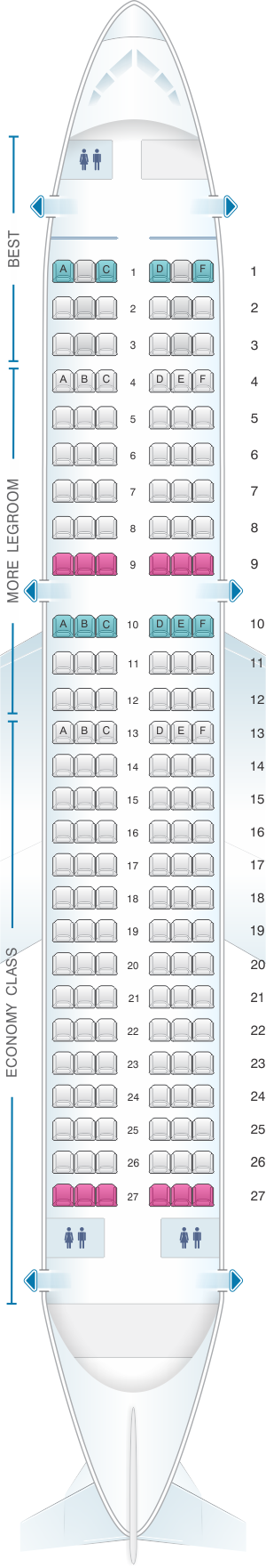 Seat map for Eurowings Airbus A320