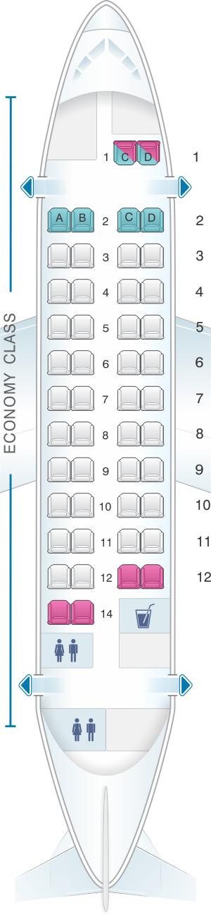 Seat map for Fiji Airways ATR 42 600