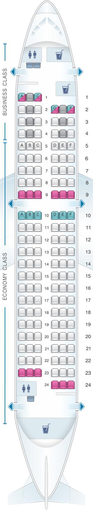 Seat map for Finnair Airbus A319