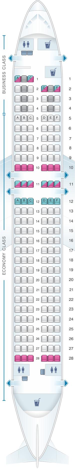 Seat map for Finnair Airbus A320
