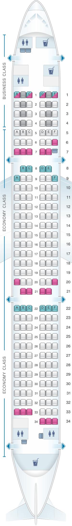 Seat map for Finnair Airbus A321 188PAX