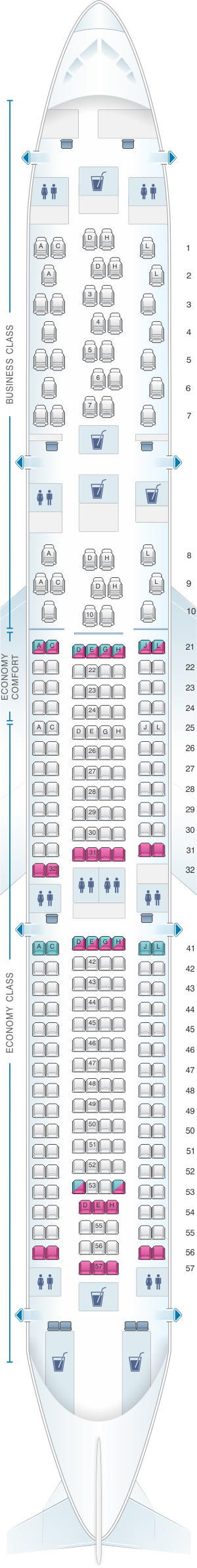 Seat map for Finnair Airbus A330 300 263PAX