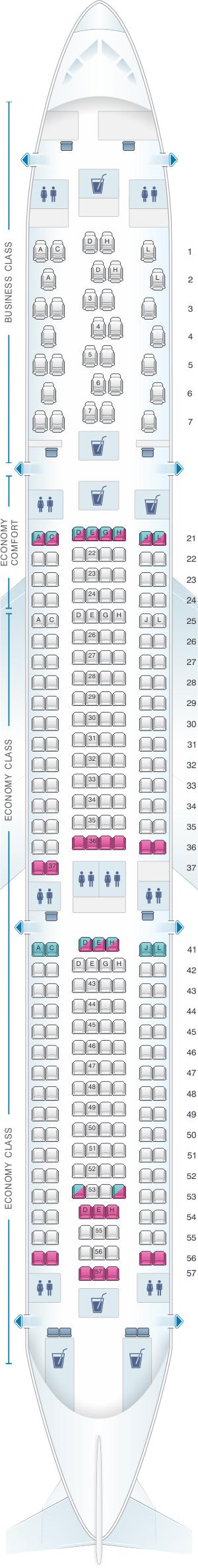 Seat map for Finnair Airbus A330 300 289PAX