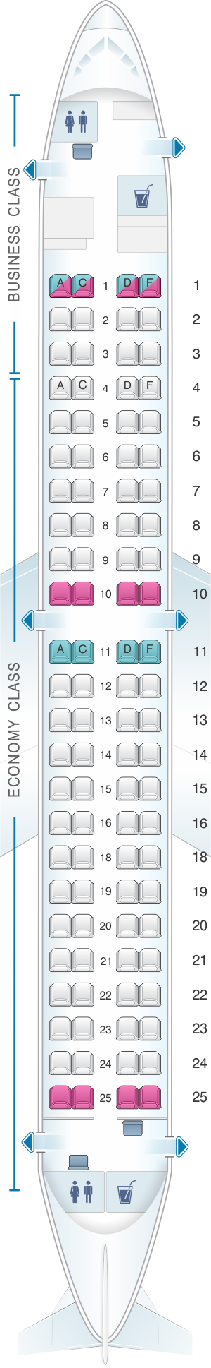 Seat map for Finnair Embraer EMB 190