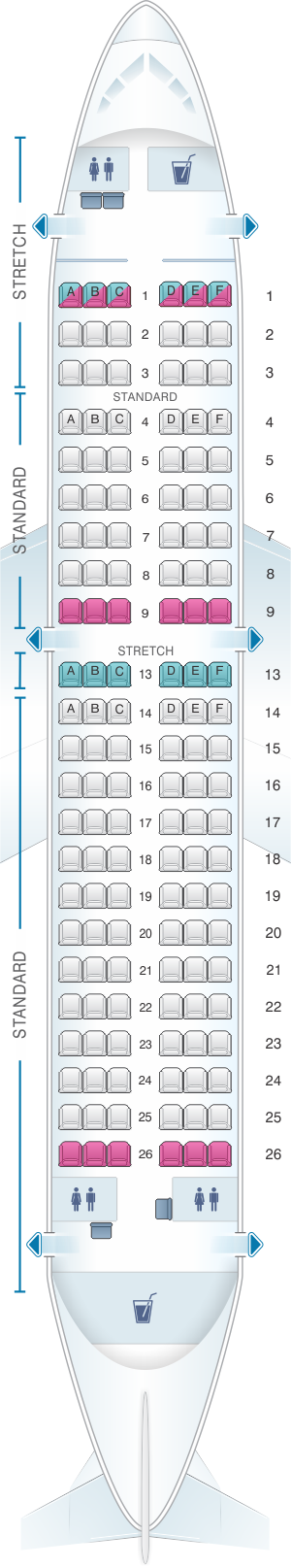 Seat map for Frontier Airlines Airbus A319 138pax