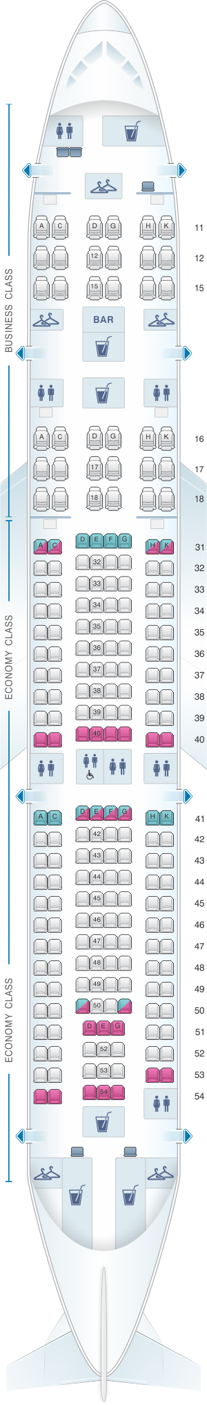 Seat Map Hainan Airlines Airbus A330 200 Seatmaestro