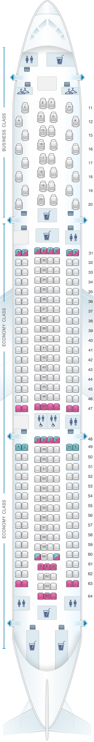 Seat map for Hainan Airlines Airbus A330 300