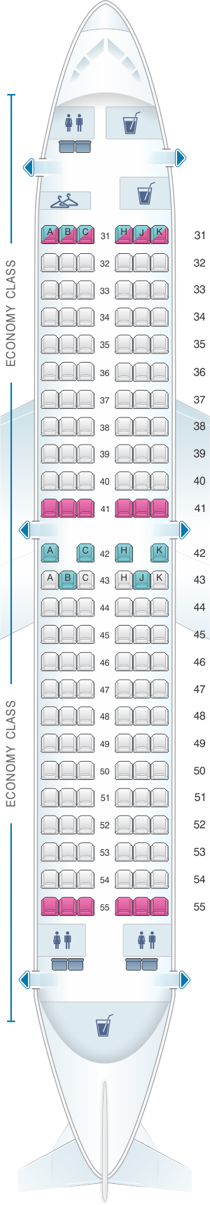 Seat map for Hainan Airlines Boeing B737 700