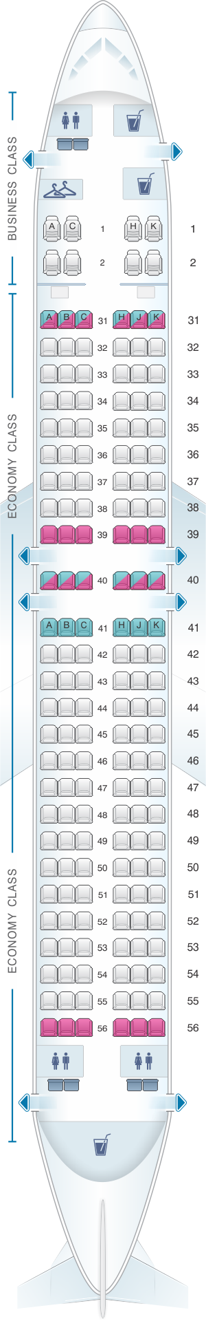 Seat map for Hainan Airlines Boeing B737 800