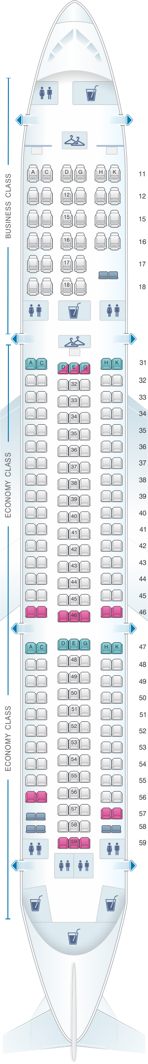 Seat map for Hainan Airlines Boeing B767 300