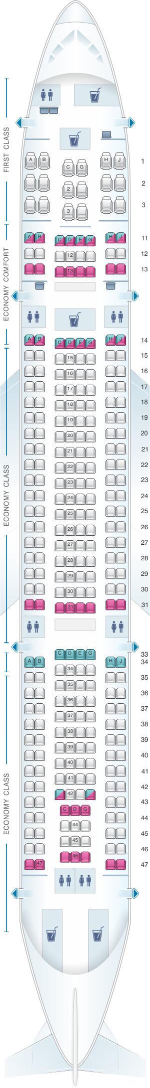 Seat Map For Hawaiian Airlines Airbus A330 200