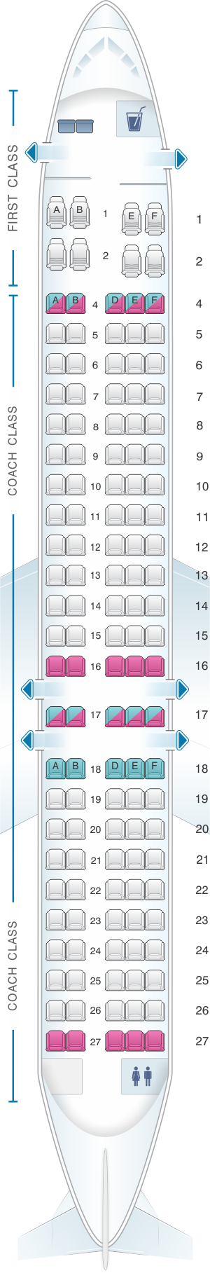 Seat map for Hawaiian Airlines Boeing B717 200