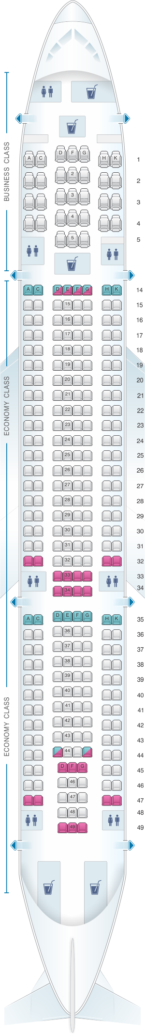 Seat Map Hi Fly Airbus A330 200 298pax Seatmaestro