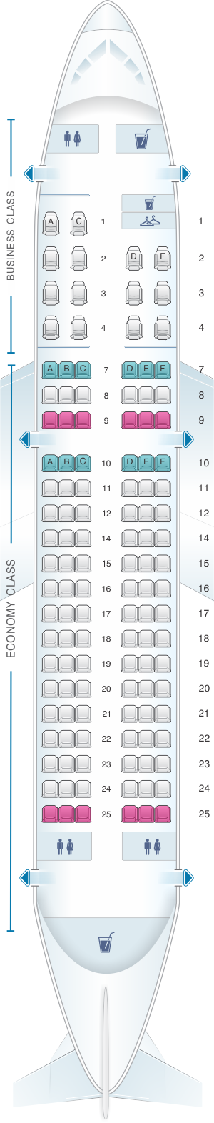 Seat map for Iberia Airbus A319 two-class