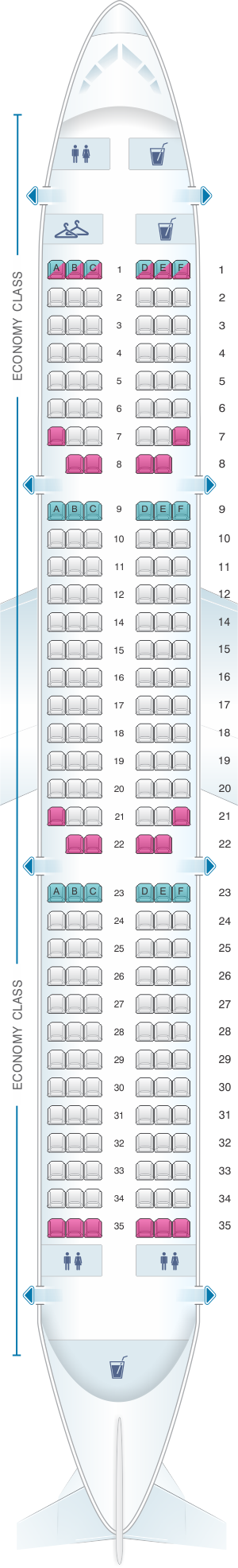 Seat map for Iberia Airbus A321