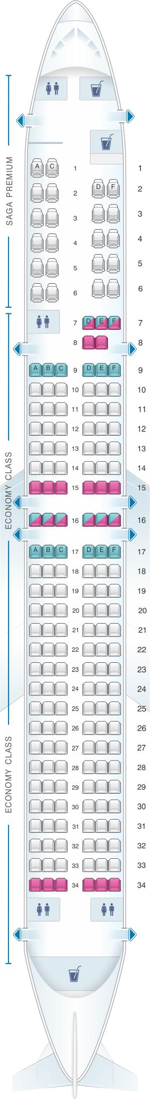Seat Map For Icelandair Boeing B757 200