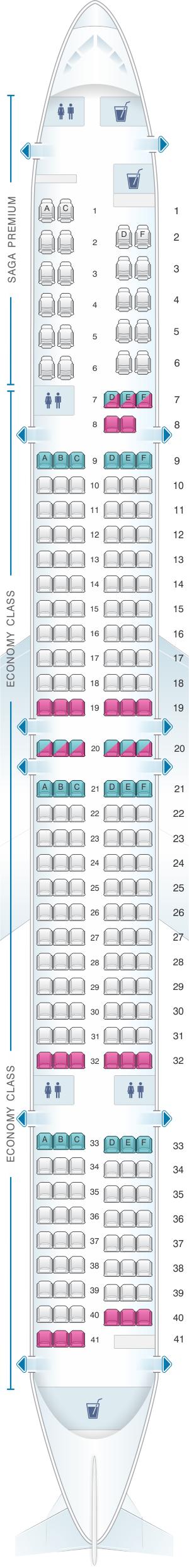 Seat map for Icelandair Boeing B757 300