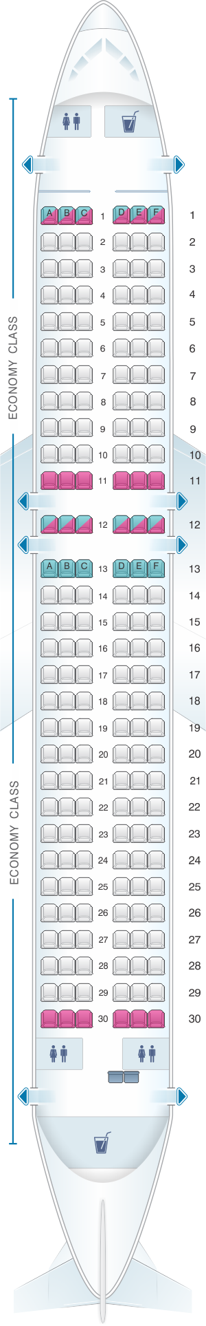 Seat map for IndiGo Airbus A320