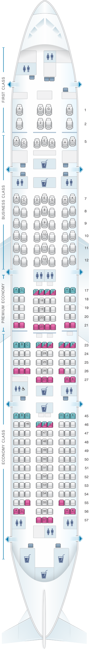 Seat map for Japan Airlines (JAL) Boeing B777 300ER W84