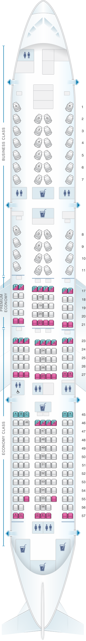 Seat map for Japan Airlines (JAL) Boeing B777 200ER W61/W62