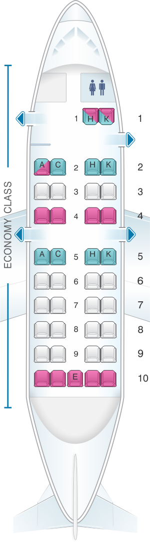 Seat map for Japan Airlines (JAL) DHC8 Q100 Q11