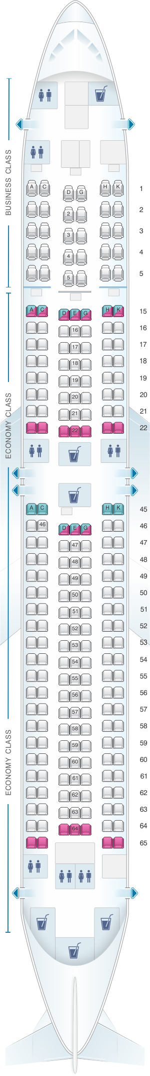 Seat map for Japan Airlines (JAL) Boeing B767 300ER A43