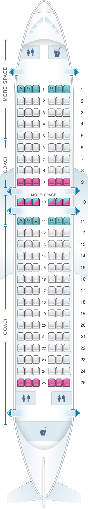 Seat map for JetBlue Airways Airbus A320