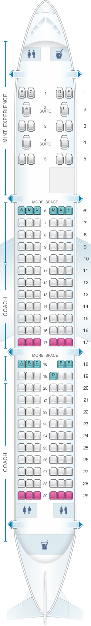 Seat map for JetBlue Airways Airbus A321 Config 2