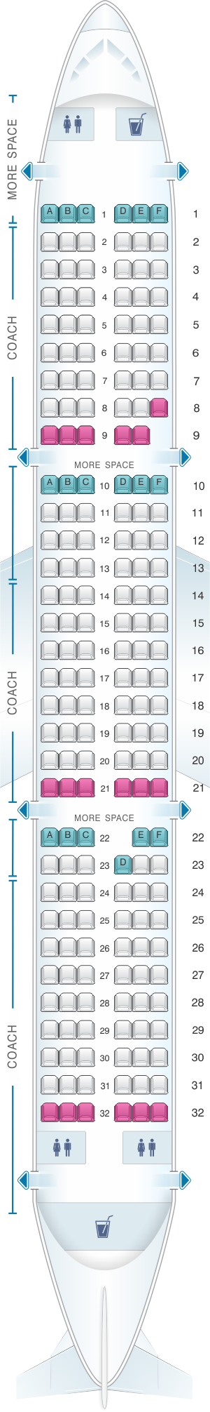 Seat map for JetBlue Airways Airbus A321 Config 1