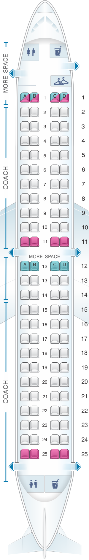 Seat map for JetBlue Airways Embraer EMB 190