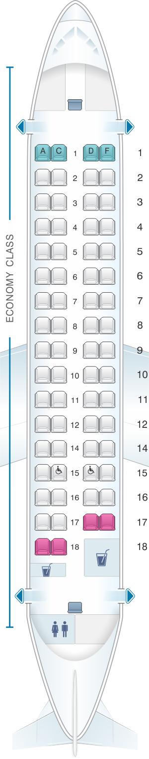 Seat map for Jet Airways ATR 72 500 66PAX