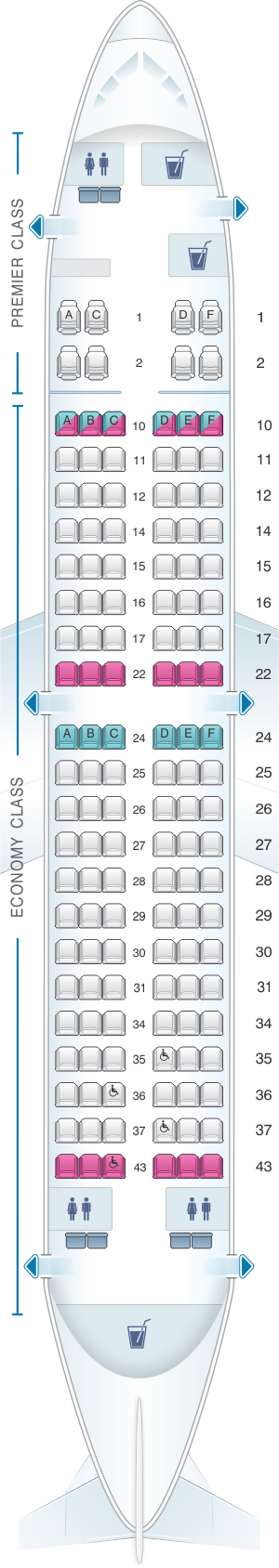 Seat map for Jet Airways Boeing B737 700 134PAX