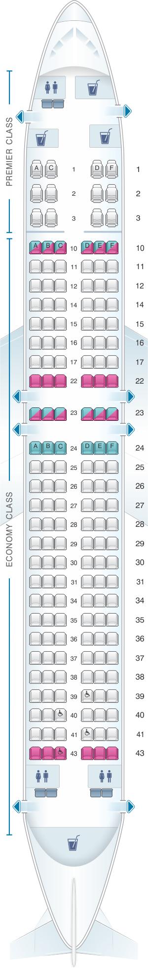 Seat map for Jet Airways Boeing B737 800 168PAX