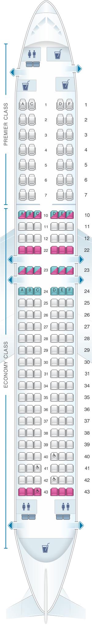 Seat map for Jet Airways Boeing B737 900 166PAX