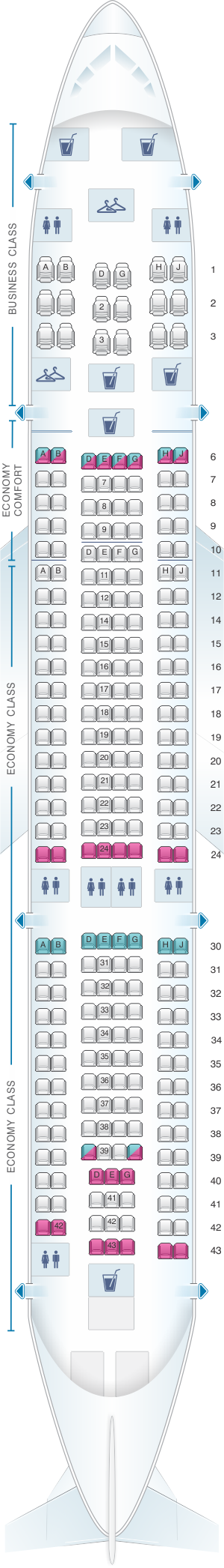 Seat map for KLM Airbus A330 200
