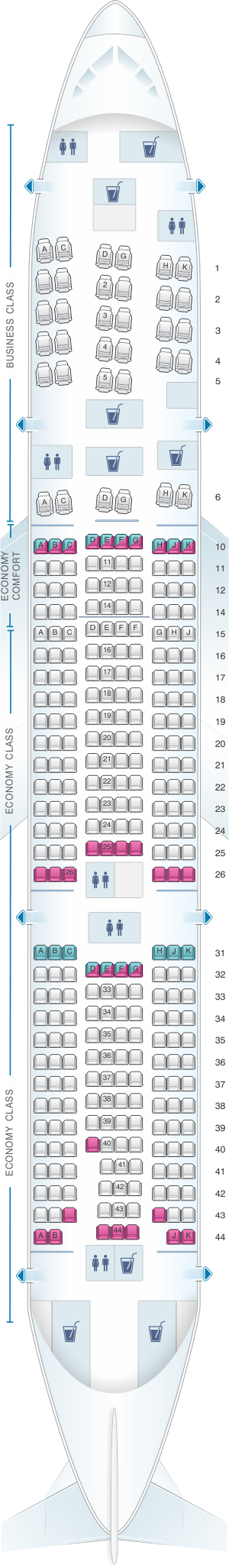 Seat map for KLM Boeing B777 200ER New World Business Class