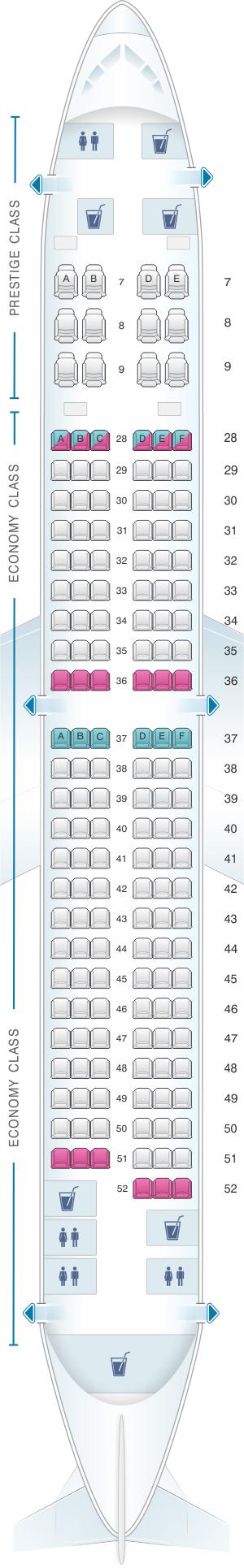 Seat map for Korean Air Boeing B737 900ER 159PAX