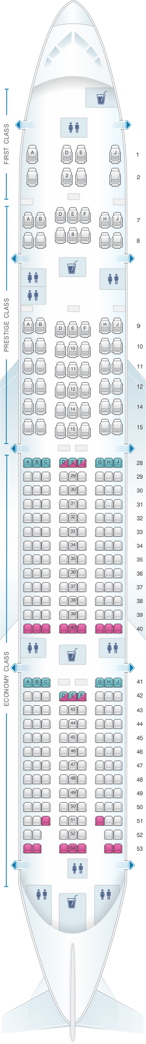 Seat map for Korean Air Boeing B777 300ER 291PAX