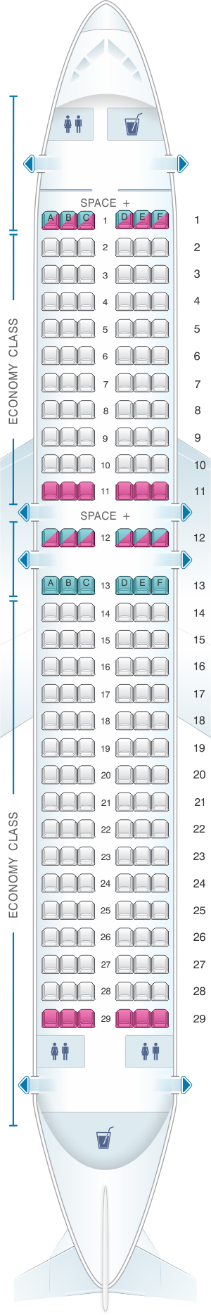 Seat map for LATAM Airlines Brasil Airbus A320 174PAX