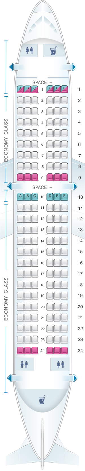 Seat map for LATAM Airlines Brasil Airbus A319