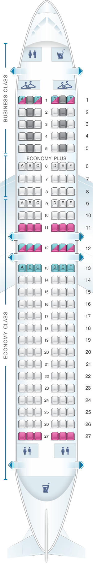 Seat map for LOT Polish Airlines Boeing B737 400