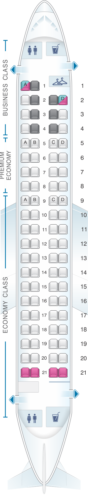 Seat map for LOT Polish Airlines Embraer 175
