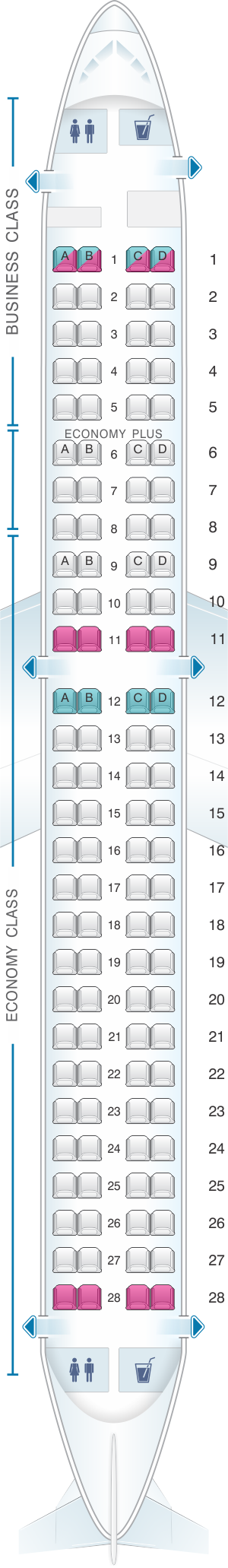 Seat map for LOT Polish Airlines Embraer 195