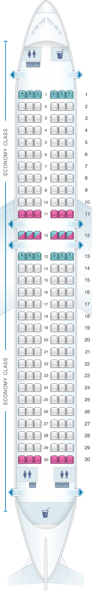 Seat map for Novair Airbus A320 200