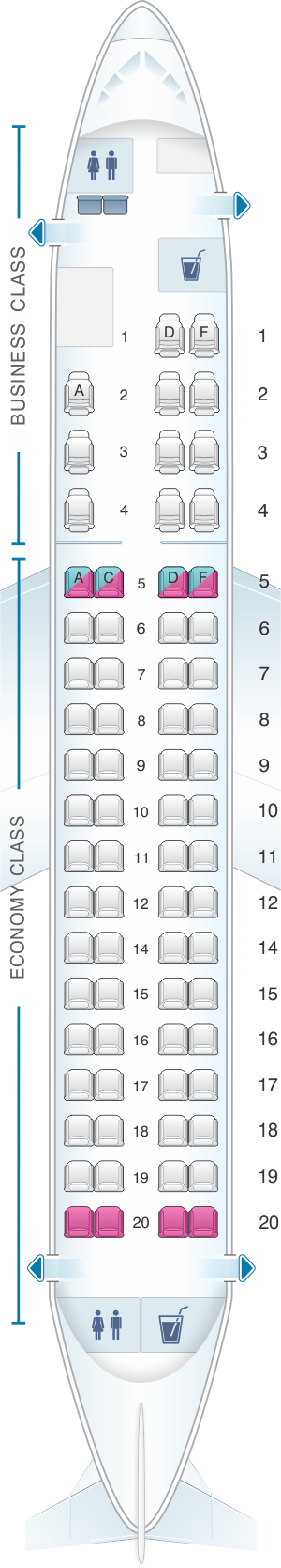 Seat map for Oman Air Embraer E175
