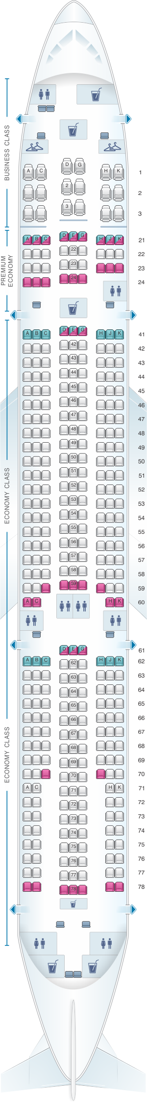 Seat map for Philippine Airlines Airbus A330 300 363pax