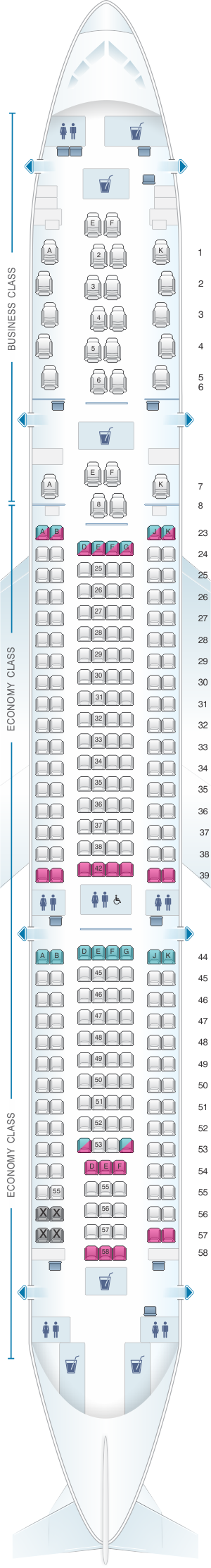 Seat map for Qantas Airways Airbus A330 200 Domestic 271PAX